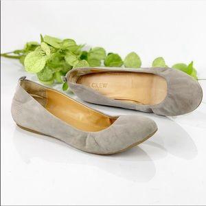 J Crew Light Gray Suede Round Toe Ballet Flats